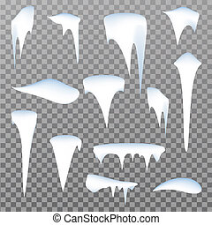 Set of snow icicles isolated on transparent background. Vector illustration