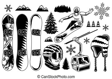 Set of snowboard elements