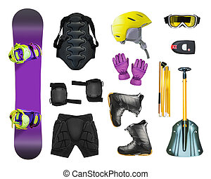 Set of snowboard equipment and avalanche gears isolated on...
