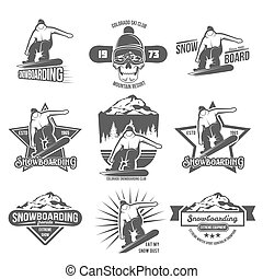 Set of snowboarding badges and logotypes