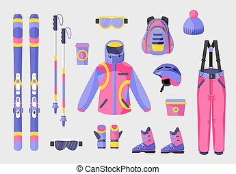 Set of snowboarding gear, clothing equipment icons, flat vector illustration