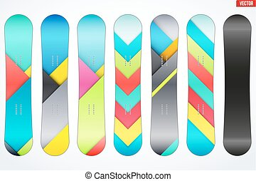 Set of Snowboards sample symbols - Set of Snowboard with...