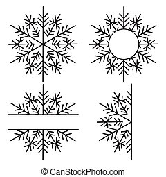 Set of snowflake monogram isolated on white background. Lace festive ornament template. Stencil for scrapbooking, for greeting card, banner.