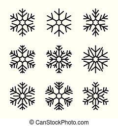 Set of snowflake on white background