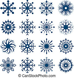 Set of snowflake shapes isolated on white background.