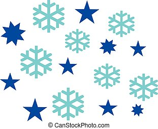 Set of snowflakes and stars