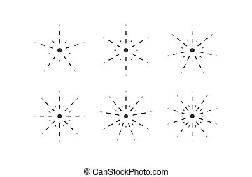 Set of snowflakes from dashed lines