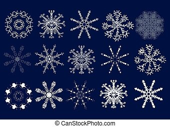 Set of snowflakes. Hand draw. Vector illustration