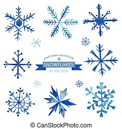 Set of Snowflakes - hand drawn in Watercolor - vector