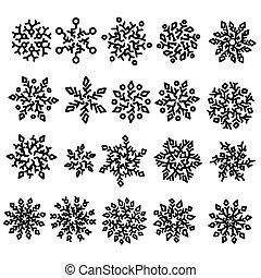 Set of snowflakes. Holiday collection. Snowflakes collection isolated on white background. Vector illustration.