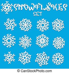 Set of snowflakes. Holiday collection. Snowflakes collection on blue background. Vector illustration.