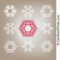 set of snowflakes - set of snoset of snowflakeswflakes