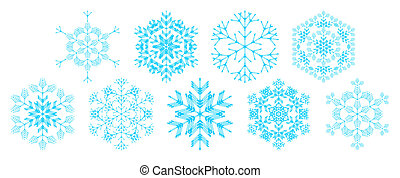 set of snowflakes - set of decorative snowflakes, vector