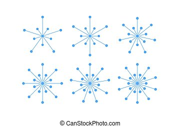 Set of snowflakes of blue lines and circles