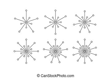 Set of snowflakes of lines and circles
