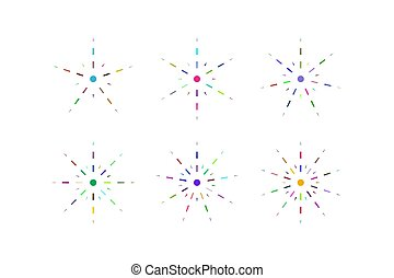 Set of snowflakes of multicolored dashed lines