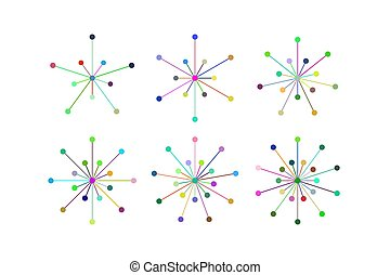 Set of snowflakes of multicolored lines and circles