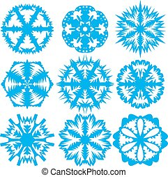 Set of snowflakes on a white background. Vector illustration