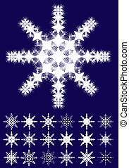 Set of snowflakes on blue background, part 1, vector illustration
