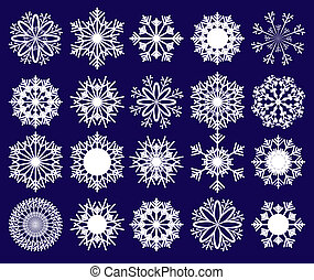 Set of snowflakes on blue background, part 2, vector illustration