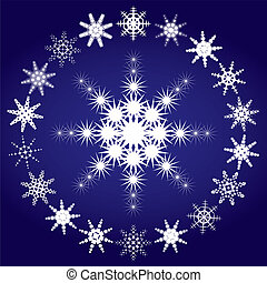 Set of snowflakes on blue background, part 3, vector illustration