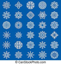 Set of snowflakes on blue background, vector illustration
