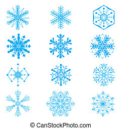 Set of snowflakes on white background