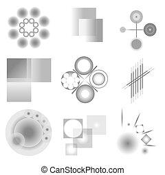 Set of snowflakes on white background