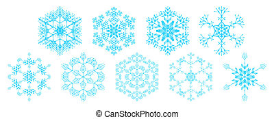 set of snowflakes - set of decorative snowflakes, vector