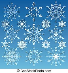 Set Of Snowflakes - Snowflakes Variations, editable vector...