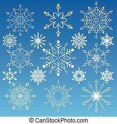 Set Of Snowflakes - Snowflakes Variations, editable vector...
