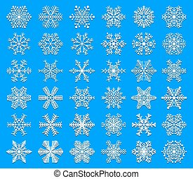 Set of snowflakes. Unusual and original elements for winter design.