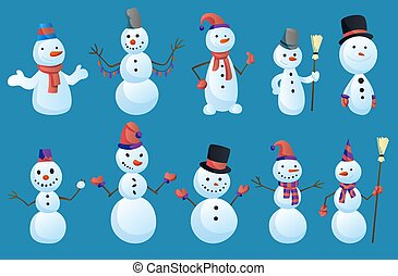 Set of Snowmans in different poses with top hat and scarf isolated on white background. Winter theme. Vector character illustration