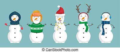 Set of snowmen in the christmas clothes. Flat cartoon illustration.
