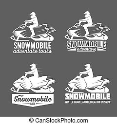 set of snowmobile dadges - Set of winter snowmobile emblems,...