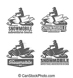 set of snowmobile dadges - Set of winter snowmobile emblems....