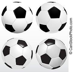 Set Of Soccer Ball, Football Vector On White Background, Sport Concept
