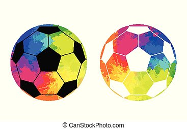 Set of soccer ball with watercolor rainbow background