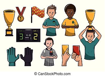 Set of soccer elements catoons concept vector illustration...