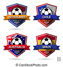 Set of soccer ( football ) badge.Illustration eps10