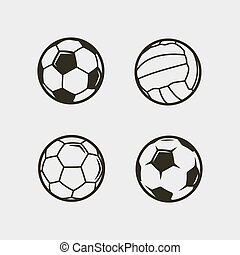 set of soccer, football balls. vector illustration