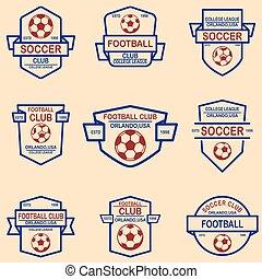 Set of soccer, football emblems. Design element for logo, label, sign, poster, t shirt.