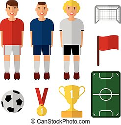 Set of soccer, football illustrations. Soccer players. Isolated vectors. Flat design. Web icons. Soccer player, trophy, ball.