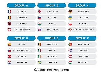 Set of soccer ( football ) tournament. group A B C D E F