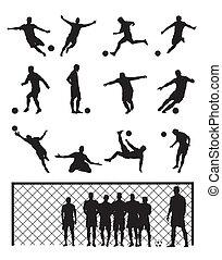 Set Of Soccer Player Football Black