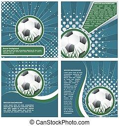 Set of soccer poster template design, vector illustration
