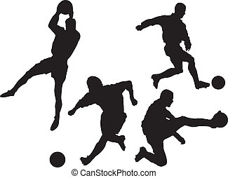 set of soccer silhouettes