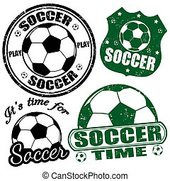 Set of soccer stamps