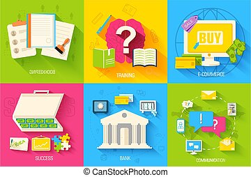 set of social business life illustrations design . Vector backgrounds in vintage style concepts