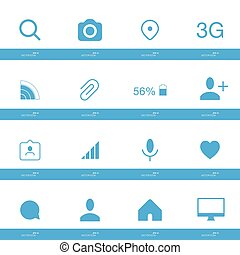 Set of social icons in flat style isolated on white background.